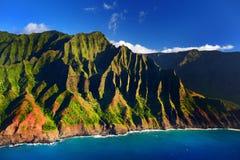 Beautiful aerial view of spectacular Na Pali coast, Kauai Royalty Free Stock Photos