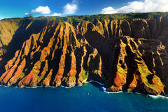 Beautiful aerial view of spectacular Na Pali coast, Kauai Royalty Free Stock Photos