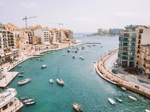 Spinola Bay, St. Julians and Sliema town on Malta. Beautiful aerial view of the Spinola Bay, St. Julians and Sliema town on Malta Stock Images