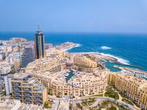 Spinola Bay, St. Julians and Sliema town on Malta. Beautiful aerial view of the Spinola Bay, St. Julians and Sliema town on Malta Stock Image