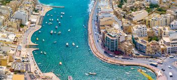 Spinola Bay, St. Julians and Sliema town on Malta. Beautiful aerial view of the Spinola Bay, St. Julians and Sliema town on Malta Royalty Free Stock Photo