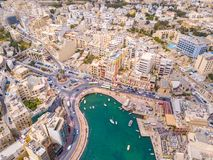 Spinola Bay, St. Julians and Sliema town on Malta. Beautiful aerial view of the Spinola Bay, St. Julians and Sliema town on Malta Royalty Free Stock Photography