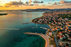 Beautiful aerial view of Srima, Dalmatia, Croatia royalty free stock photo
