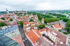 Beautiful aerial view of Tallinn cityscape from Toompea Hill, Es Royalty Free Stock Photo