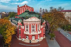 Beautiful Aerial view of Theatre in Varna City Center, Bulgaria Stock Images