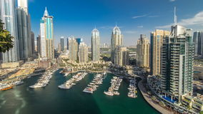 Beautiful aerial view timelapse of Dubai Marina at day time in Dubai, UAE stock video footage