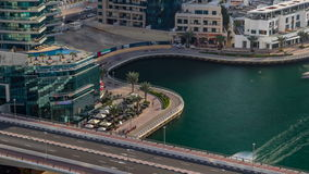 Beautiful aerial view timelapse of Dubai Marina at day time in Dubai, UAE stock video
