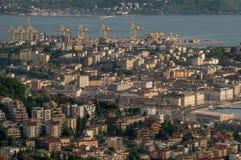 Beautiful aerial view of Trieste at sunset, Friuli Venezia Giulia, Italy stock photo