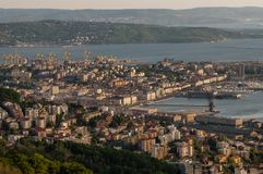 Beautiful aerial view of Trieste at sunset, Friuli Venezia Giulia, Italy stock photography