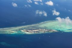 Beautiful aerial view of the tropical island at the middle of the indian ocean Stock Photo