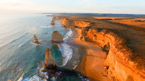 Beautiful aerial view of Twelve Apostles along Victoria coast, A Stock Photo
