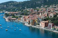 Beautiful Aerial View of Villefranche Sur Mer With The Harbor. Villefranche-sur-Mer, France - May 20, 2018: Beautiful Aerial View of Villefranche-Sur-Mer With Stock Photo