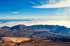 Beautiful aerial view of volcano caldera from summit Pico del Teide mountain. Lava rocks and volcanic Royalty Free Stock Images