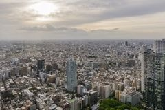 Beautiful aerial view of western Tokyo area at sunset, Japan stock photo