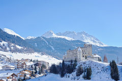 Beautiful aerial view in winter Nauders, Austria with mountains and castle Stock Photography