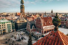 Beautiful aerial winter day over Riga old town. Sunny winter day. stock photo