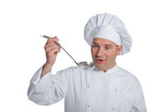 Beautiful chef isolated on white Royalty Free Stock Image