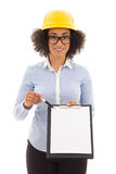 Beautiful african american business woman in builder helmet show Royalty Free Stock Images
