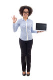 Beautiful african american business woman holding laptop with em Royalty Free Stock Image