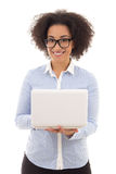 Beautiful african american business woman with laptop isolated o Stock Images