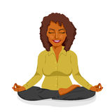 Beautiful african american businesswoman relaxing happy in yoga lotus pose Royalty Free Stock Photos