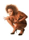 Beautiful African-American Cat Woman. Crouching in Bikini and High Heels Royalty Free Stock Photo