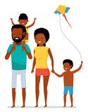 Beautiful african american family isolated on white background. Summer vacation. Flat cartoon illustration. Stock Photos