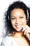 African agent. Beautiful African American Female Call Center Agent Royalty Free Stock Photo