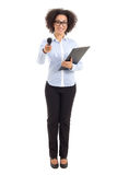 Beautiful african american female journalist with microphone tak Stock Photo