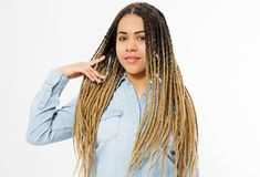 Beautiful african american girl with afro hairstyle and jeans shirt on white background. Make up and fashion. Copy space royalty free stock photos