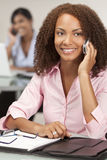 Beautiful African American Girl On Cell Phone Royalty Free Stock Photography
