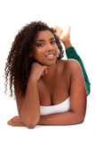 Beautiful african american girl lied Stock Photos