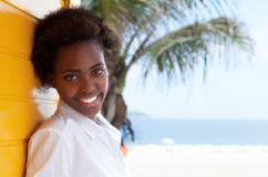 Beautiful african american girl near beach Stock Photography