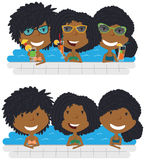 Beautiful African American girls relaxing and drinking cocktails royalty free illustration