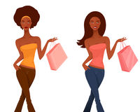 Beautiful cartoon girls on a shopping spree Royalty Free Stock Photos