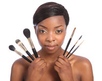 Beautiful african american make up artist girl Royalty Free Stock Photography