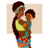 Beautiful African-American mother and baby. Beautiful young African-American woman of black mother and baby in cartoon style. Cards of Happy Mother`s Day Royalty Free Stock Photography