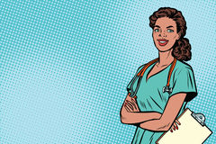 Beautiful African American nurse with stethoscope. Medicine and health care. Pop art retro vector illustration Stock Images