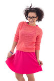 Beautiful african american teenage girl in pink Stock Photography