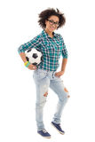 Beautiful african american teenage girl posing with soccer ball Royalty Free Stock Photo