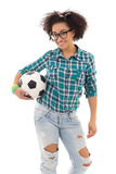 Beautiful african american teenage girl with soccer ball isolate Royalty Free Stock Photography