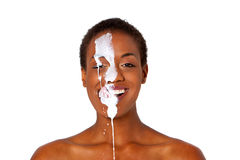 Beautiful african american woman covered with milk Stock Photos