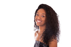 Beautiful African American woman with curly hairs isolated on wh Royalty Free Stock Images