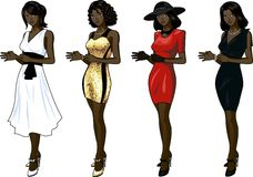 Beautiful African American woman in dress set of 4 Royalty Free Stock Photos