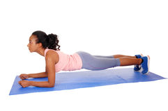 Beautiful african american woman exercising. Royalty Free Stock Images
