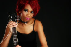 Beautiful African American Woman with Guitar Stock Photos