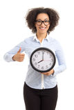 Beautiful african american woman holding office clock and thumbs Stock Photography
