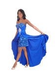Beautiful African American Woman In Blue Dress. Stock Images