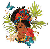 Beautiful African American woman with palm leaves, butterflies and tropical flowers stock illustration