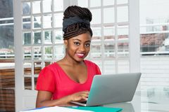Beautiful african american woman shopping online royalty free stock image